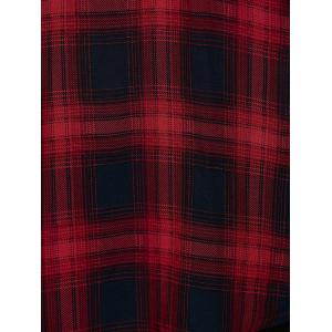 Plus Size Asymmetrical Plaid Cardigan - CHECKED 5XL