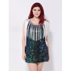 Sequined Fringed Cut Out Mini Party Dress -
