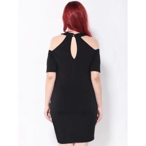 Cold Shoulder Cut Out Bodycon Party Dress - BLACK 5XL