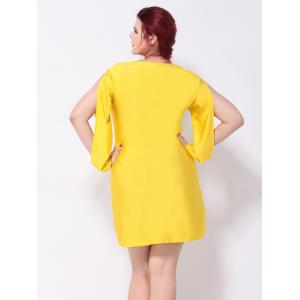 V Neck Cut Out Split Sleeves Shift Dress - DEEP YELLOW 3XL
