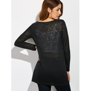 Lace Patchwork Sheer T-Shirt -