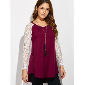 Lace Sleeve High Low Hem T-Shirt - RED/WHITE XL