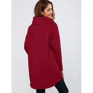 Cowl Neck High Low Hem Pullover - RED XL