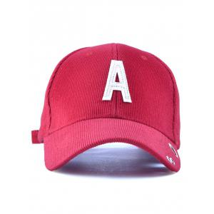 Corduroy Stripe Lettres Adjustable Baseball Cap -