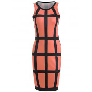 Sleeveless Checked Pencil Knee Length Dress