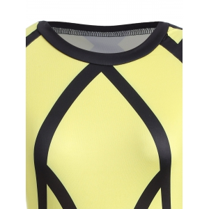 Color Block Long Sleeve Bodycon Sheath Dress - YELLOW M