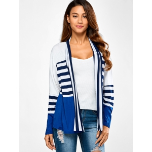 Ruffles Splicing Striped Cardigan - BLUE AND WHITE XL