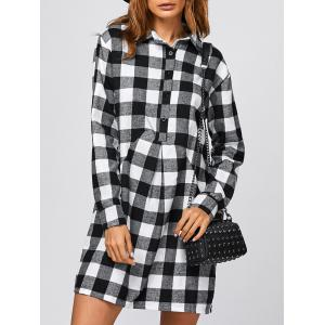 Casual Polo Tartan Shirt Dress - White And Black - S