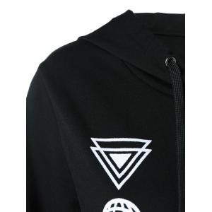 Alien Print Kangaroo Pocket Hoodie - WHITE/BLACK XL
