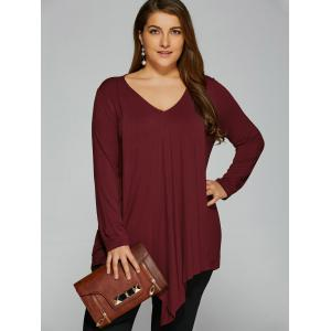 Plus Size Long Sleeve Asymmetrical T-Shirt - Wine Red - 5xl