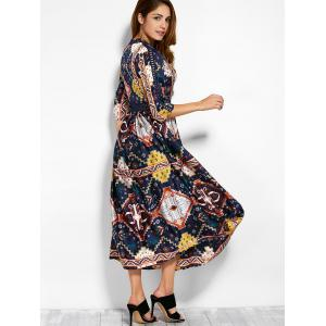 V Neck Retro Print Hollow Out Maxi Dress -