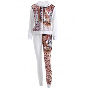 Leopard Drawstring Hoodie and Pants Set