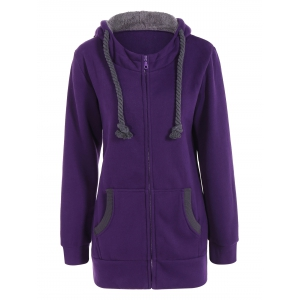 Drawstring Zip Up Fleece Purple Hoodie - Purple - L