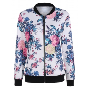 Floral Print Zipper Bomber Jacket - White - 2xl