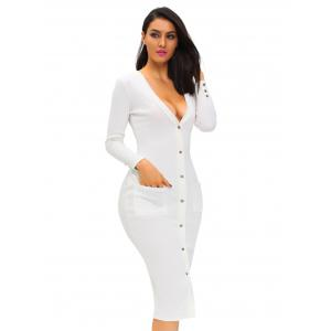 Button Up Fitted Long Sleeve Plunge Dress - WHITE S