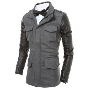 Epaulet Design Faux Leather Sleeve Zippered Jacket -