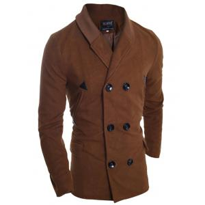 Ribbed Shawl Collar Back Vent Double Breasted Jacket - DEEP BROWN M