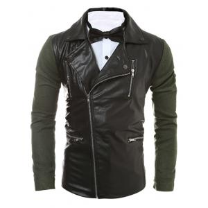 Zip Pocket Faux Leather Insert Jacket