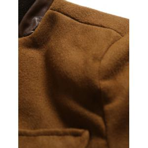 Stand Collar Button Up Back Vent Woolen Coat - CAMEL 2XL