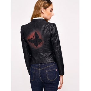 Butterfly Print Faux Leather Zip Jacket -