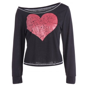 Scoop Neck Heart Pattern Cropped T-Shirt - Black - Xl