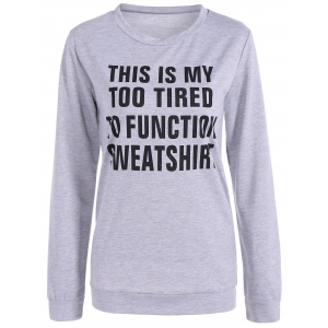 Jewel Neck Letter Print Sweatshirt - Gray - S