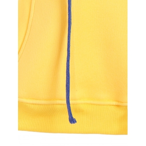 Hooded Patch Graphic Sweatshirt - YELLOW L
