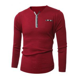 Notch Neck Button Embellished Texture Sweater - RED 3XL
