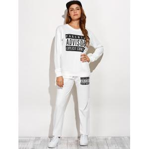 Casual Letter Sweatshirt and Drawstring Sports Pants -
