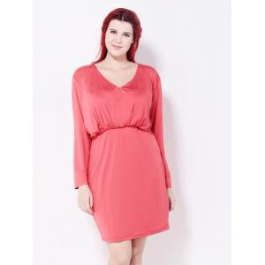 Ruched Fitted Sheath Dress - WATERMELON RED 3XL