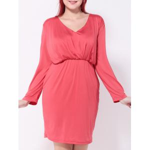 Ruched Fitted Sheath Dress - Watermelon Red - 3xl