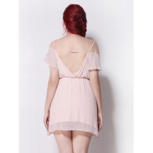 Cold Shoulder Backless Chiffon Empire Waist Cocktail Dress - NUDE PINK 5XL