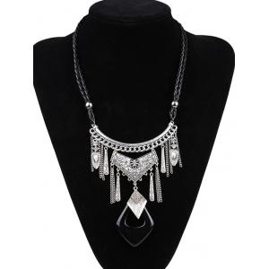 Artificial Leather Braid Geometric Engraved Necklace