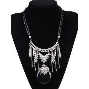 Artificial Leather Moon Braid Engraved Necklace