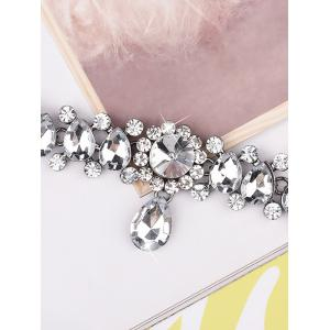 Artificial Crystal Gem Water Drop Choker Necklace - WHITE