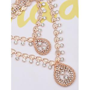 Rhinestoned Water Drop Necklace and Stud Earrings - GOLDEN