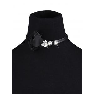 PU Leather Rhinestone Floral Choker Necklace -
