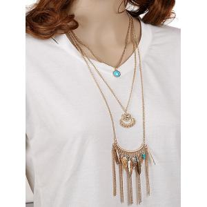 Rhinestone Heart Leaf Feather Layered Necklace - GOLDEN