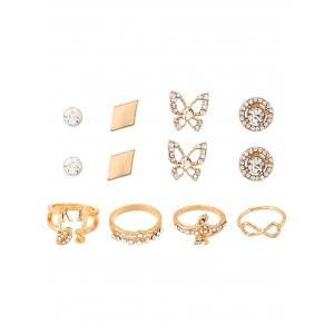 Rhinestone Infinite Leaves Rings and Earrings