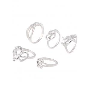 Rhinestone Heart Infinite Ring Set - SILVER ONE-SIZE