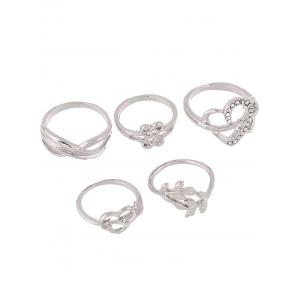 Rhinestone Heart Infinite Ring Set - Silver - One-size