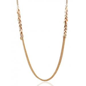 Multilayered Alloy Leaves Sweater Chain -