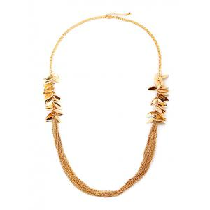 Multilayered Alloy Leaves Sweater Chain - Golden