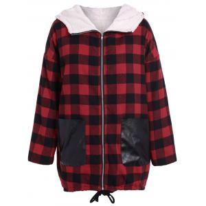 PU-Leather Splicing Hooded Plaid Coat - Checked - 3xl