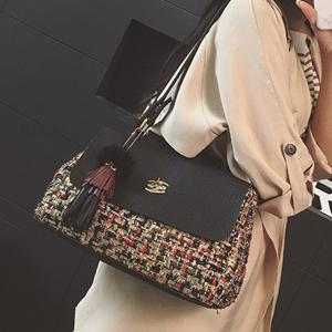 Tassel Tweed Panel Shoulder Bag -