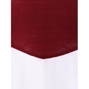 Long Sleeve Color Block T Shirt - WINE RED XL