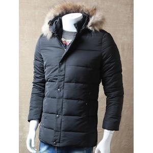 Zipper Button Padded Jacket with Dismountable Hood -