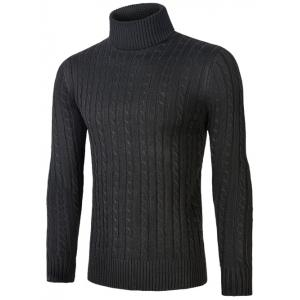 Roll Neck Kink Design Sweater - Black - M
