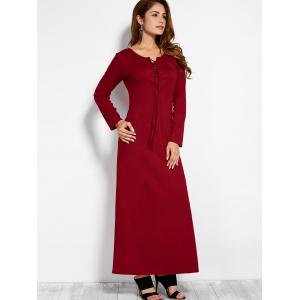 Plunging Neck Long Sleeve Lace Up Maxi Dress - RED L