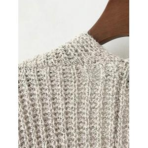Collarless Double Pockets Knitted Cardigan -